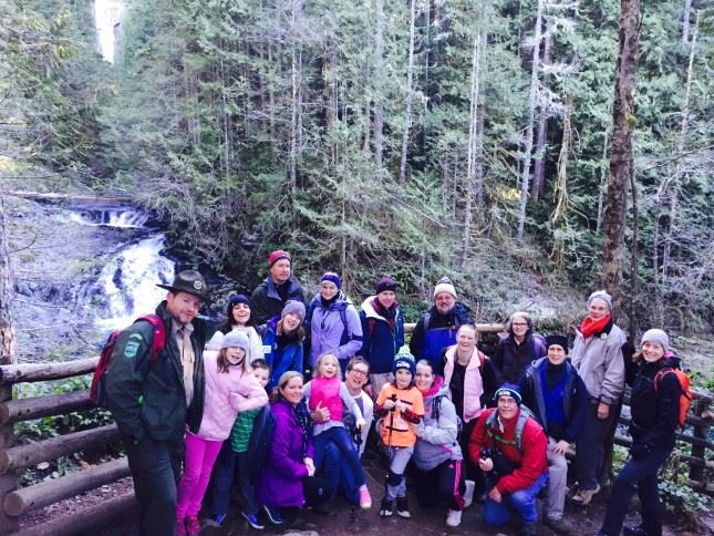 Fall-ow that Ranger! Both the weather and the turn-out make for a great Jan. 1 at Wallace Falls.