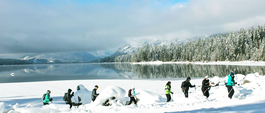 A happy group of campers plays in the deep snow next to Lake Wenatchee.