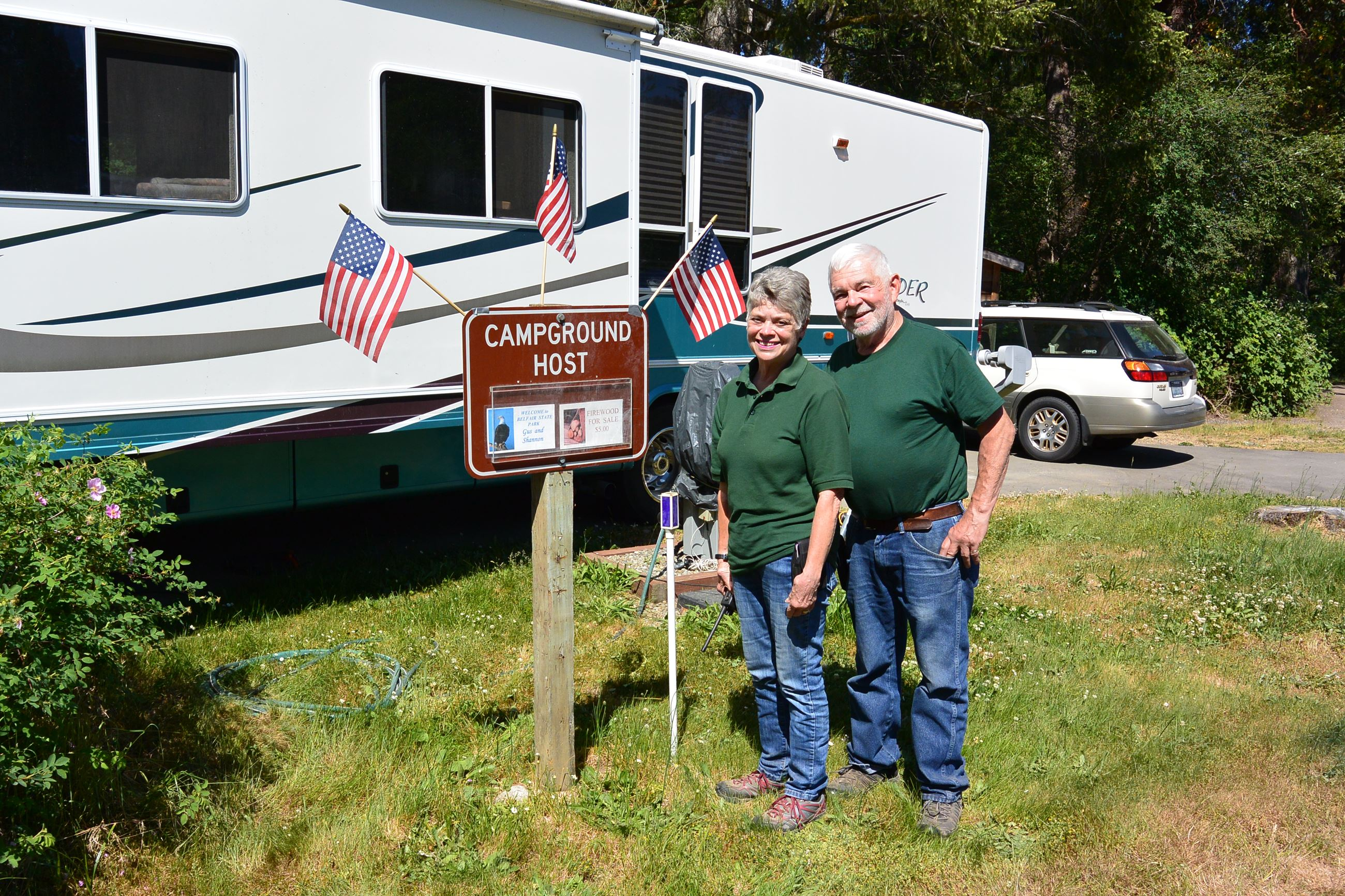 Camp Hosts Gus and Shannon Tomaras Belfair