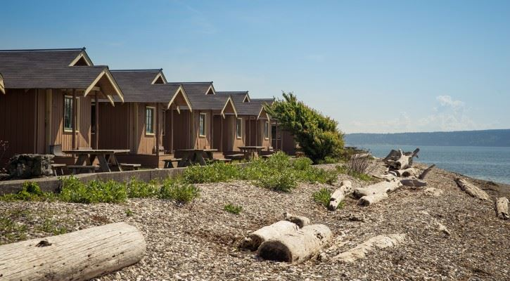 Cabins along the shoreline