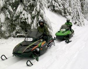 People on snow mobiles