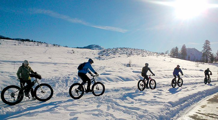 Group of people riding fat tie bikes in the snow