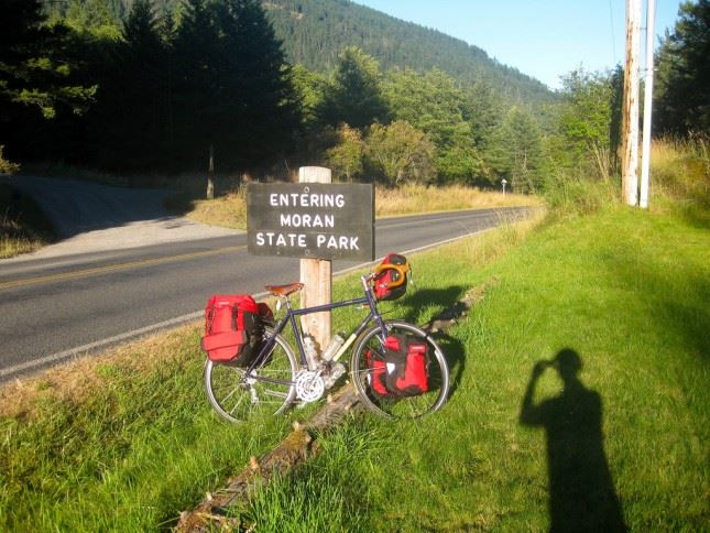 Moran State Park Sign With A Bike